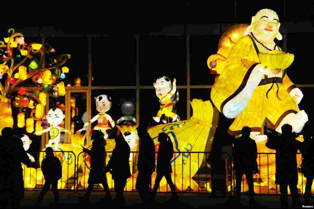 People visit a lantern show to mark the upcoming Chinese Lantern Festival in Haozhou, Anhui province, China, Feb. 17, 2019.