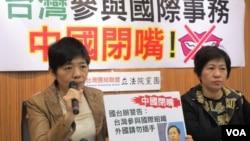 台灣在野的台聯黨立法院黨團就中國打壓台灣國際空間召開記者會(美國之音張永泰拍攝)