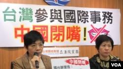 台湾在野的台联党立法院党团就中国打压台湾国际空间召开记者会(美国之音张永泰拍摄)