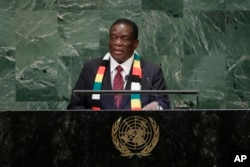 FILE - Zimbabwe's President Emmerson Mnangagwa addresses the 73rd session of the United Nations General Assembly at the United Nations headquarters, Sept. 26, 2018.
