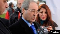 叙利亚副外长在叙利亚政府与反政府代表直接会面后与记者交谈