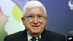 Fouad Massoum speaks during a press conference in Baghdad, Iraq, July 24, 2014.