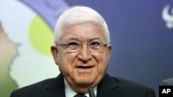 فواد معصوم رئیس جمهوری جدید عراق، در نشستی خبری در بغداد – پنجشنبه ۲ مرداد ۱۳۹۳