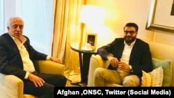 阿富汗国家安全顾问穆希卜和美国阿富汗问题特使哈利勒扎德在迪拜会晤。(2019年1月13日)