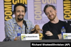"Lin-Manuel Miranda, left, and James McAvoy participate in the ""His Dark Materials"" panel on day one of Comic-Con International on Thursday, July 18, 2019, in San Diego."