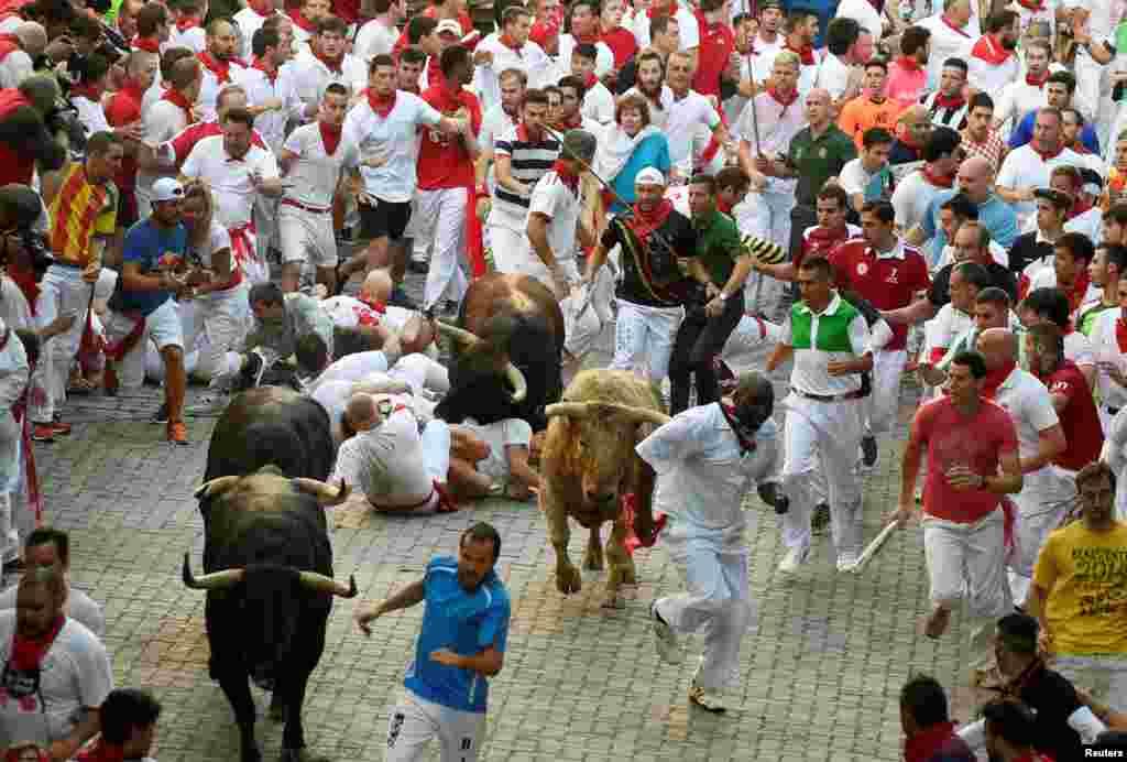 اسپین، پامپ لونا میں 'سان فرمن' تہوار کے پہلے دن سانڈوں کی دوڑ میں حصہ لینے والے افراد دوڑ رہے ہیں