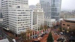 درخت کریسمس در شهر پرلتند واقع در میدان پایونییر