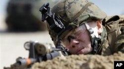 지난 3월 한국 포항에서 미-한 합동군사훈련에 참가한 미 해병대원.