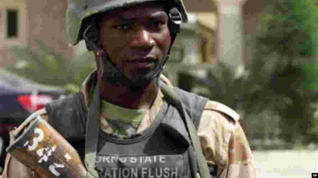 A soldier stands guard in Maiduguri, Nigeria.