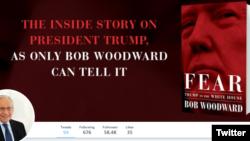 သမၼတ Trump စာအုပ္ကုိ သတင္းေထာက္ Bob Woodward က သူ႔ရဲ႕ Twitter အေကာင့္မွာ ေဖာ္ျပထားစဥ္။