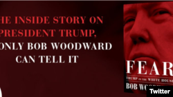 A screenshot from journalist Bob Woodward's Twitter account, featuring his new book about the Trump White House. (@realbobwoodward)