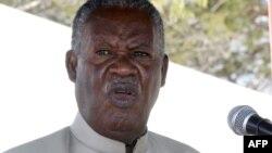 지병으로 사망한 마이클 사타 잠비아 대통령이 지난해 한 대학에서 연설하는 모습.