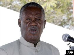 FILE - Zambia President Michael Sata delivers a speech on May 17, 2013 during the commissioning of the construction of Palabana University in Chongwe, 60 kms east of Lusaka.
