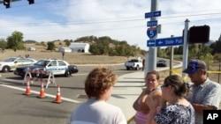 美國俄勒岡州羅斯堡鎮附近的烏姆普夸社區學院槍擊案現場