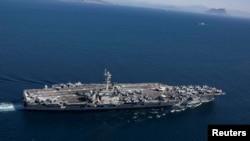 La llegada del portaviones llega después de preocupaciones de que Irán está planeando un ataque contra objetivos estadounidenses.