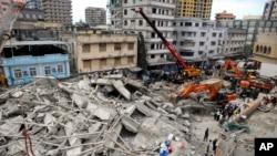 坦桑尼亞城市薩拉姆建築樓房倒塌現場
