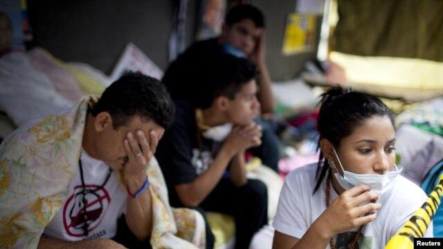 Estudiantes de Venezuela frente a la sede de la OEA en Caracas.