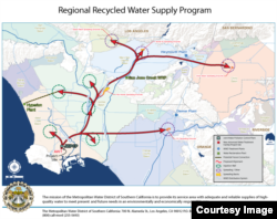 A Metropolitan Water District rendition of its planned $3.45 billion wastewater recycling program. By 2035, the system would move purified water from the JWPCP (lower left) through hundreds of kilometers of pipelines to groundwater basins in 3 counties.