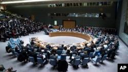 PM Sementara Ukraina Arseniy Yatsenyuk menyampaikan sambutan di hadapan Sidang Dewan Keamanan PBB di kantor pusat PBB (13/3).