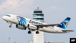 FILE - An EgyptAir Airbus A320 takes off from Vienna International Airport, Aug. 21, 2015.