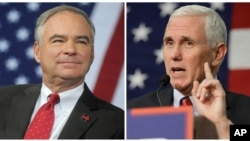 Cawapres dari Partai Demokrat AS Tim Kaine (kiri) dan cawapres dari Partai Republik Mike Pence (kanan).