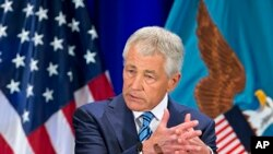 U.S. Defense Secretary Chuck Hagel at the National Defense University at Fort McNair in Washington, April 3, 2013.