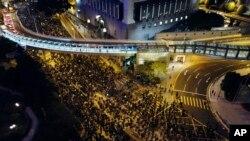 8일 홍콩 중심가에서 대규모 민주화 시위가 열렸다.