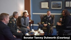 Senator Duckworth Meets with U.S. Army Secretary Ryan McCarthy and General Apirat Kongsompong, Commander in Chief of the Royal Thai Army during his official visit in Washington, DC. Feb 25, 2020. (Courtesy Senator Tammy Dukworth)