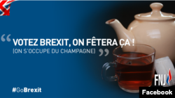 """A slogan in support of Britain's exit from the EU is seen in an image from the French National Front-Youth Wing's Facebook page. The slogan reads """"Vote for Brexit and we will handle the champagne."""""""