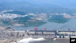 The reservoir at Three Gorges Dam in Hubei Province, China.