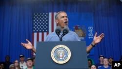1일 미국 노동절을 맞아 바락 오바마 대통령이 위스컨신주 헨리 마이어 노동절 축제에서 영ㄴ설하고 있다.