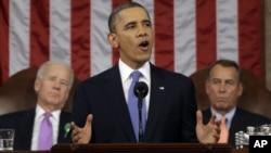 Rais Barack Obama akilihutubia taifa jumanne usiku kwenye jengo la bunge la Marekani, washington DC.