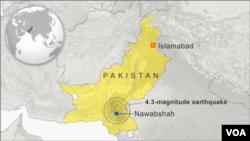 Địa điểm xảy ra trận động đất cách thành phố Nawabshah 12 kilo mét về hướng bắc
