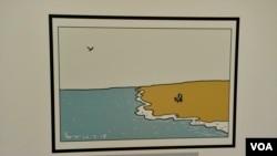 紀念已故中國諾貝爾和平奬得主劉曉波的漫畫。(美國之音湯惠芸拍攝)