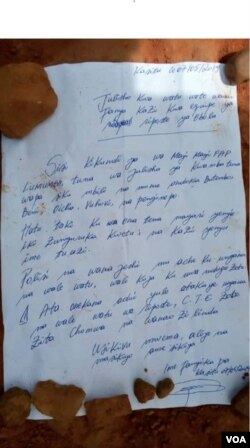 A letter warns against collaborating with Ebola responders or treatment centers in the Democratic Republic of Congo. Copies of the letter, allegedly written by a Mai-Mai fighter, appeared on the street in Butembo and in other communities in the region.