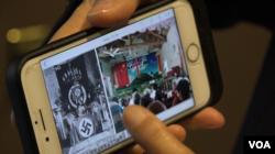 对华援助协会主席傅希秋向美国之音记者展示照片