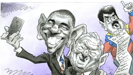 """""""自拍照""""讽刺了奥巴马总统与古巴靠近(Brian Fairrington)"""