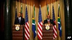 29일 오마바 미 대통령과 합동기자회견장에 선 제이콥 주마 남아공 대통령