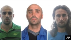 Three al-Qaida suspects only identified by their initials are seen in this combo photo released by the Spanish Interior Ministry on August 2, 2012.