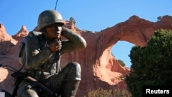 The Navajo Code Talkers monument at Window Rock, Arizona, May 29, 2007. The group of Native America Marine Corps veterans are credited with playing a key role in the Pacific campaign in World War II.