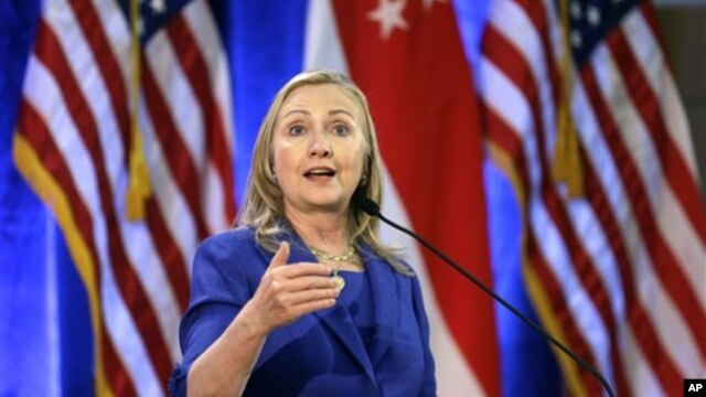 17일 싱가포르의 싱가포르 경영 대학교에서 연설하는 힐러리 클린턴 미 국무장관