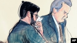Ilustración de Martin Shkreli, izquierda, junto a su abogado Ben Brafman durante la audiencia de senescencia el 9 de marzo.