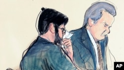 """In this courtroom sketch, former pharmaceutical CEO Martin Shkreli, left, is seated next to his lawyer Ben Brafman in federal court, March 9, 2018, in New York. """"Pharma Bro,"""" vilified for jacking up the price of a lifesaving drug, was sentenced to seven years in prison for defrauding investors in two failed hedge funds."""