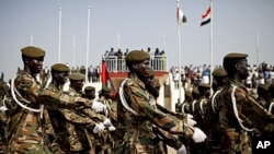 Soldiers of the Sudan People's Liberation Army march during a rehearsal for independence celebrations in the southern capital of Juba, July 5, 2011