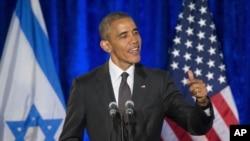 El presidente Barack Obama habló en la embajada israelí en Washington, en honor de las víctimas del Holocausto, el miércoles, 27 de enero de 2016.