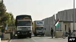 İsrail'den Gazze'nin Refah kentine yardım malzemesi taşıyan BM kamyonları
