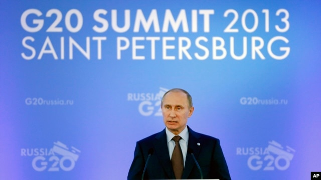 Russia's President Vladimir Putin speaks during a media conference after a G20 summit in St. Petersburg, Russia on Sept. 6, 2013.