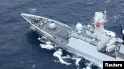 中國海軍岳陽號導彈護衛艦在廣東汕尾海域參加中國與泰國的聯合軍演。(2019年5月6日)