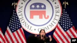 RNC Chairman Ronna McDaniel speaks at the Republican National Committee winter meeting in Washington, Feb. 1, 2018.