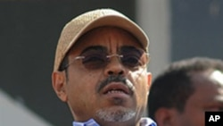 Ethiopian Prime Minister Meles Zenawi at the Meskel Square in Addis Ababa, 25 May 2010